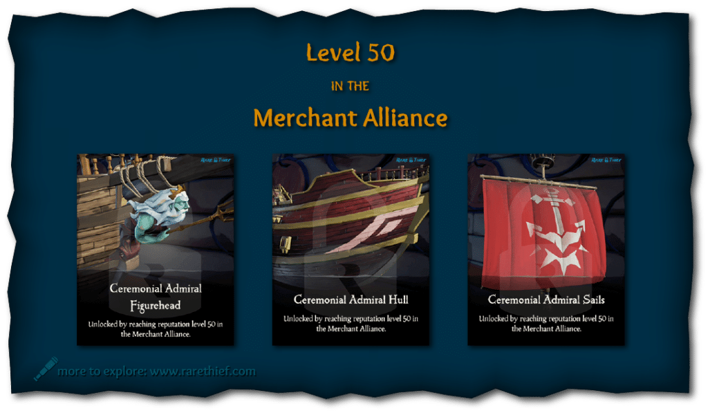 Sea of Thieves Ship Cosmetics Ceremonial Admiral Figurehead, Hull, and Sails