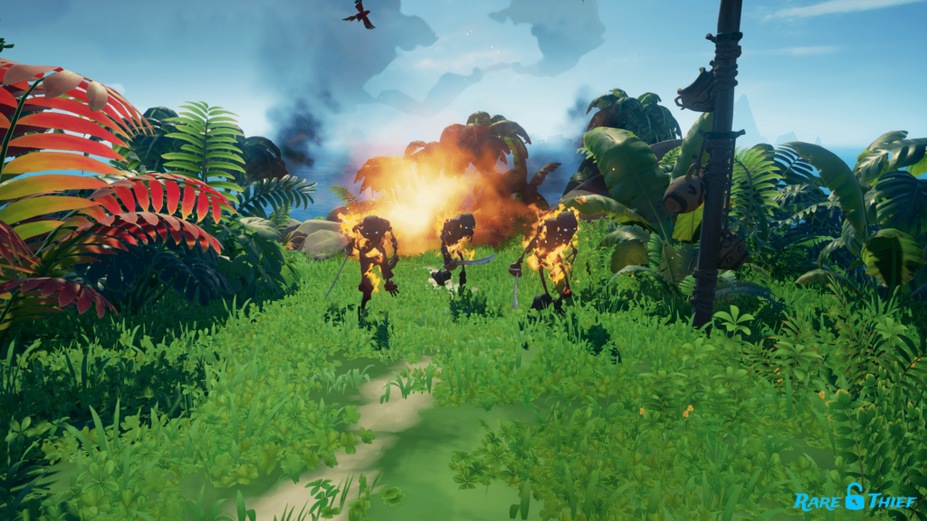 Sea of Thieves Shadow Skeletons Struck with a Firebomb