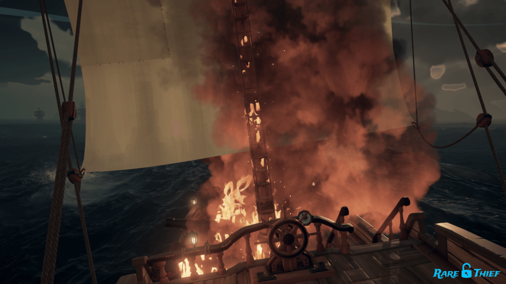 Sloop Mast Fire