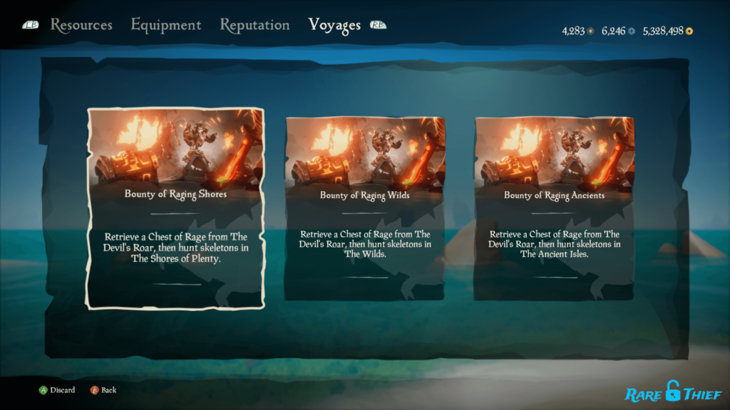 All Bounty of Rage Voyages