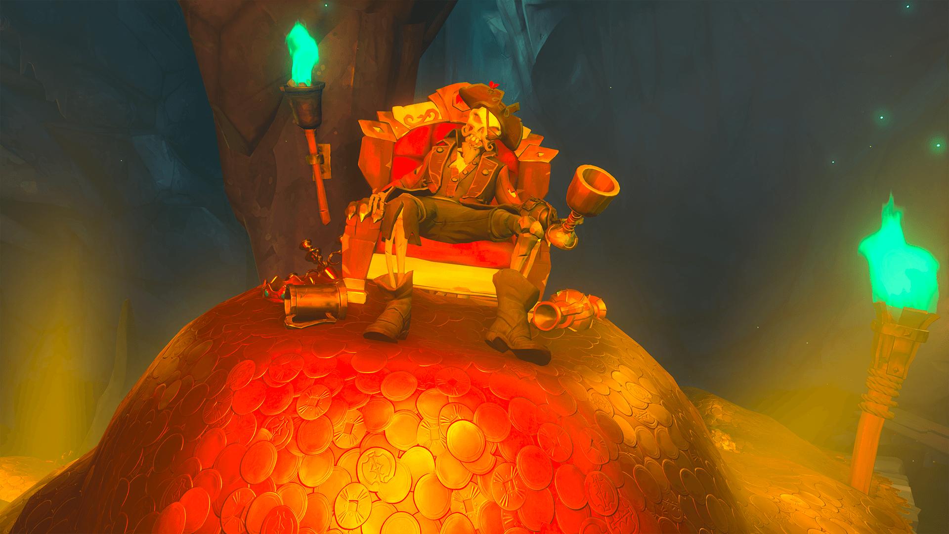 Skeleton on Large Gold Mound